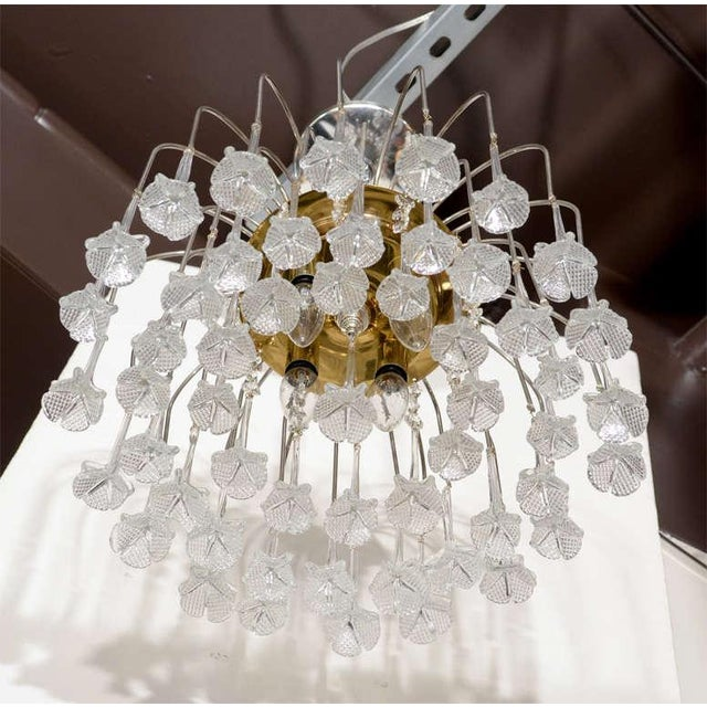 Mid Century Murano Two Tier Handblown Murano Glass Floral Pendant Chandelier - Image 6 of 8