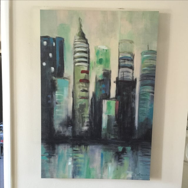 Image of Twilight Cityscape on Canvas