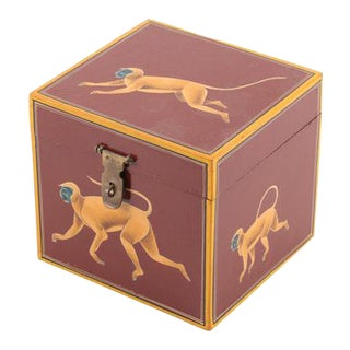 Hand-Painted Wooden Box With Monkeys