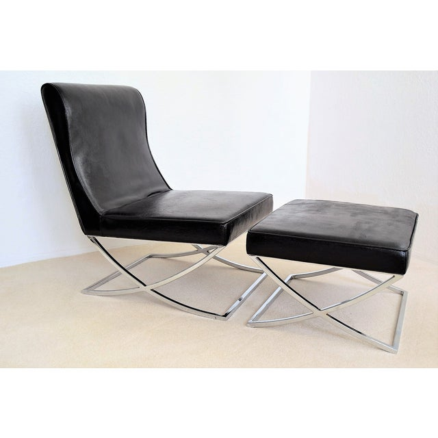 Vintage Black Vinyl and Chrome Barcelona Style Lounge Chair and Ottoman Mid  Century Modern MCM Chaise