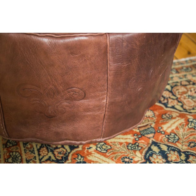 Antique Revival Whiskey Brown Leather Pouf Ottoman - Image 6 of 7
