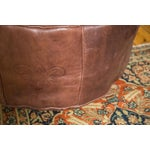 Image of Antique Revival Whiskey Brown Leather Pouf Ottoman