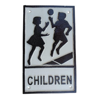 Vintage Iron Children Playing Street Sign