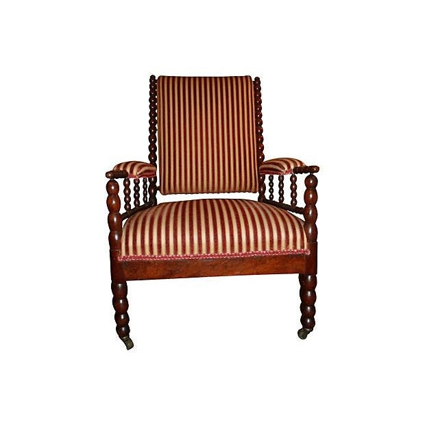 Antique Upholstered Bobbin Chair - Image 1 of 3
