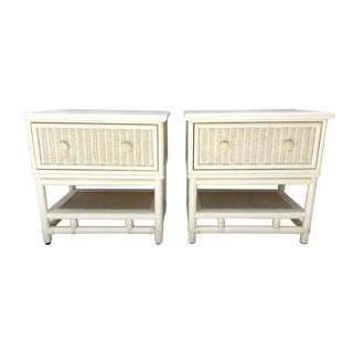 Palm Beach Regency White Rattan Bamboo Wicker Nightstands - A Pair
