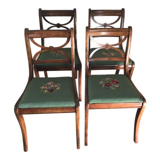 Vintage Mahogany and Needlepoint Chairs - Set of 4