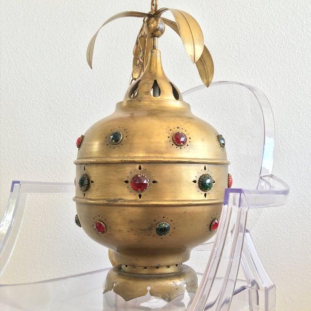 Midcentury Moroccan Brass Pendant Light - Image 5 of 10