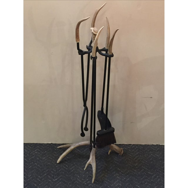 Iron Fireplace Tool Set with Authentic Antler - Image 4 of 5