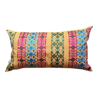 Colorful Embroided Lumber Pillow with Pom Pom Accents