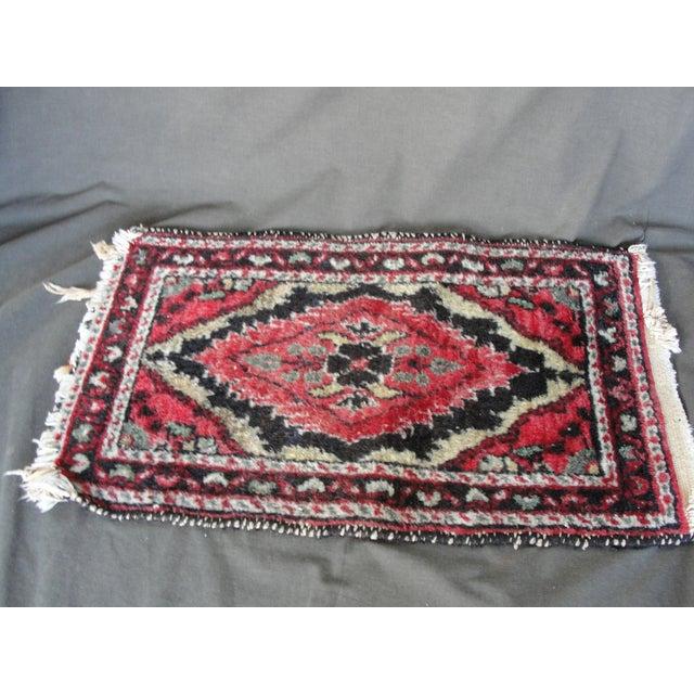 Image of Vintage Wool Hand Tied Prayer Rug - 1′3″ × 2′2″