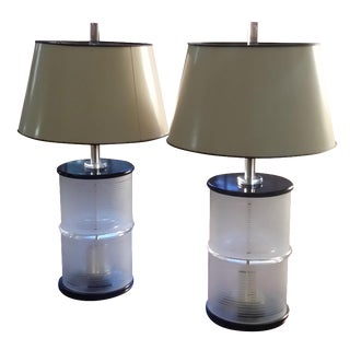 Mid-Century Lucite & Glass Lamps - A Pair