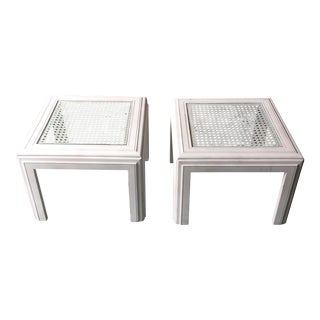 White Lane Wicker Glass Top Side Tables - A Pair