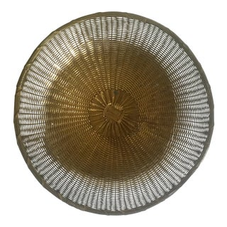 Vintage 1940's Brass Hand Woven Large Round Rustic Metal Basket