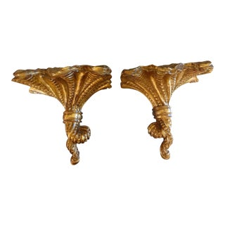 Italian Mid-Century Gilt Wood Wall Brackets - A Pair