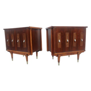 Mid-Century Modern Cane Panel Nightstands- A Pair