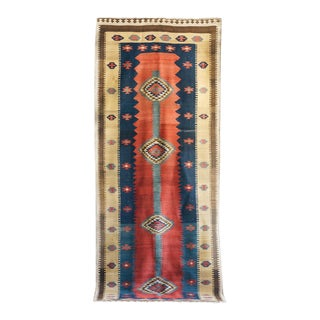 Iranian Antique Kilim Rug - 4' x 11'