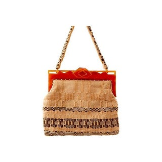 Woven Bag w/ Carved Lucite Handle