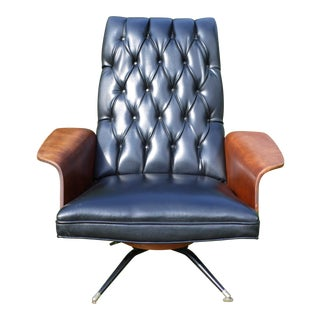 Vintage Plycraft Mulhauser Mid Century Modern Tufted Bentwood Lounge Chair