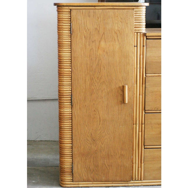 Rare Vintage Stacked Rattan Armoire - Image 2 of 6