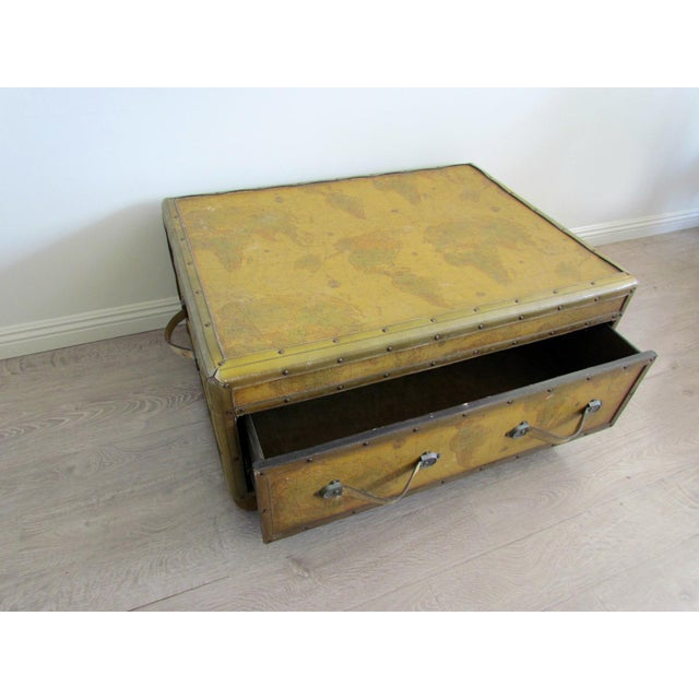 Coffee Table With Map Drawers: World Map Chest Coffee Table