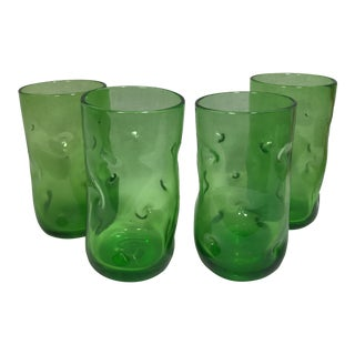 Vintage Blenko Green Pinch Glass Tumblers - Set of 4
