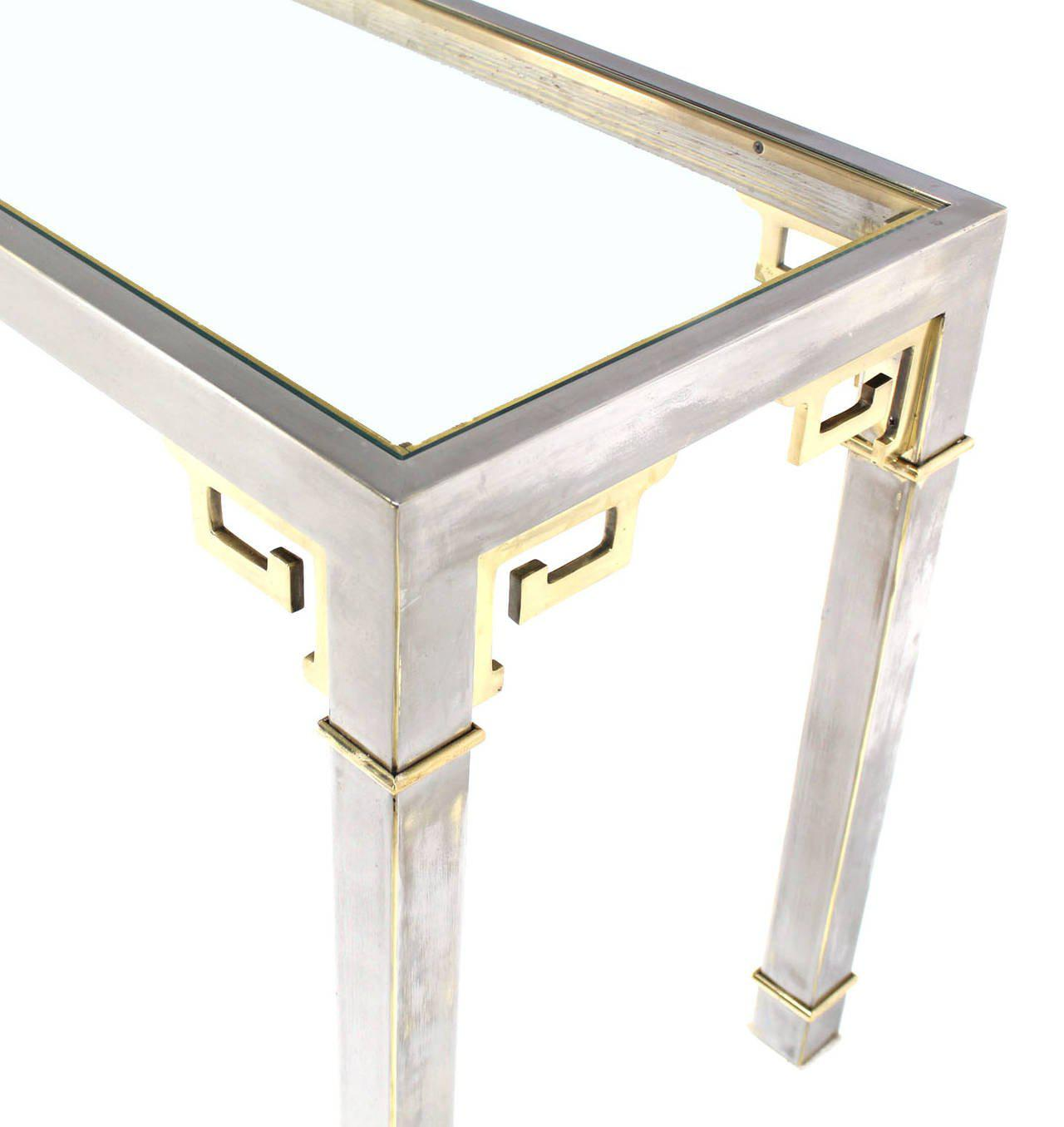 Chrome Brass U0026 Glass Console Table By Mastercraft   Image 3 ...