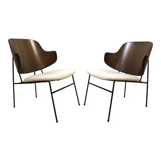 Pair of Mid-Century Danish Modern IB Kofod Larsen Penguin Walnut/Leather Chairs