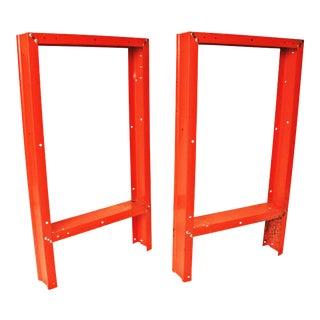 Vintage Industrial Orange Steel Bench Legs - A Pair