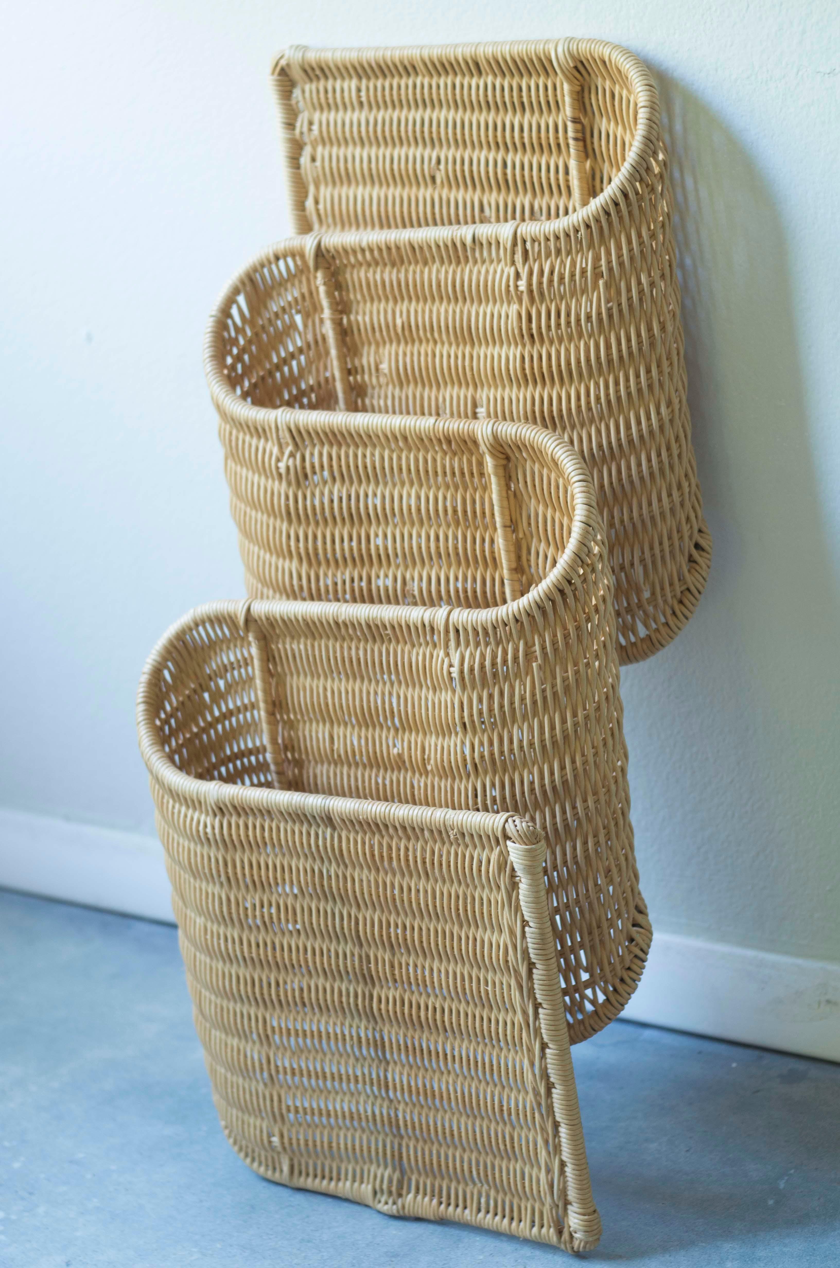 image of vintage wicker biomorphic wall magazine rack