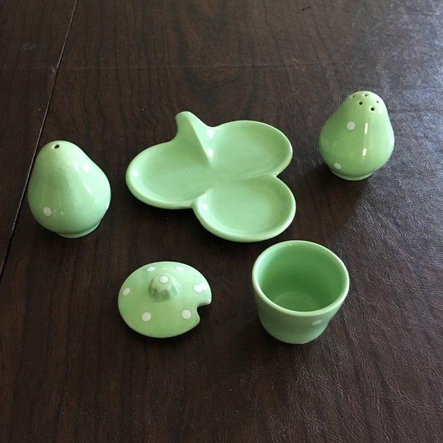 Mid-Century Mint Green Salt & Pepper Shaker - Set of 3 + Plate - Image 5 of 8