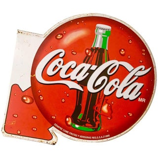 Vintage Coca Cola Double Sided Advertising Sign