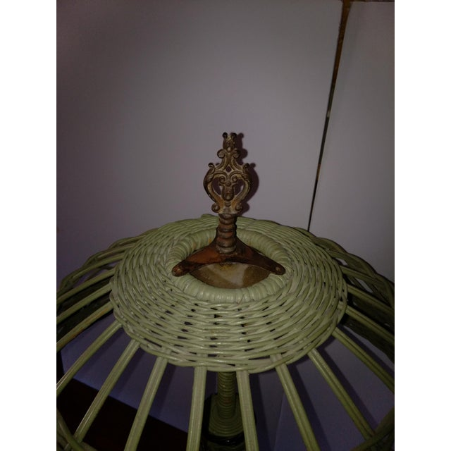 Antique Haywood Wakefield Era Wicker Table Lamp - Image 4 of 10