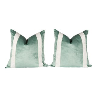 Greek Key Green Velvet Pillows - A Pair