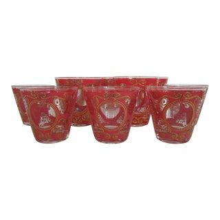 Culver 1970s Red & Gold Rocks Glasses - Set of 10