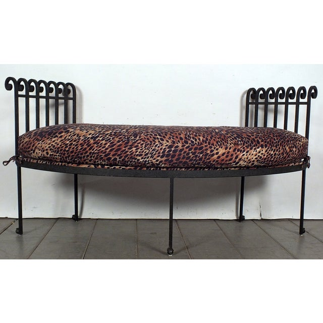 Hammered Iron Upholstered Curved Bench Leopard - Image 3 of 10