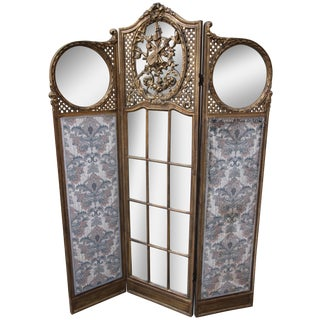 19th-C. French Giltwood & Mirrored Screen