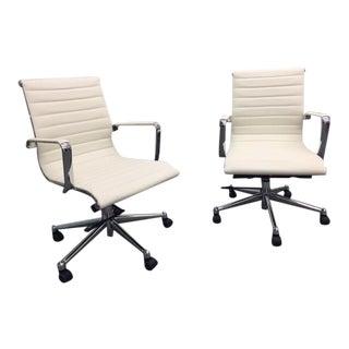 Kimball Alumma White Office Chairs - A Pair