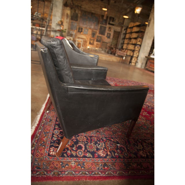 Image of Black Mid-Century Worn Leather Lounge Chair
