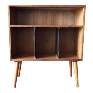 Mid-Century Style Walnut Record Stand