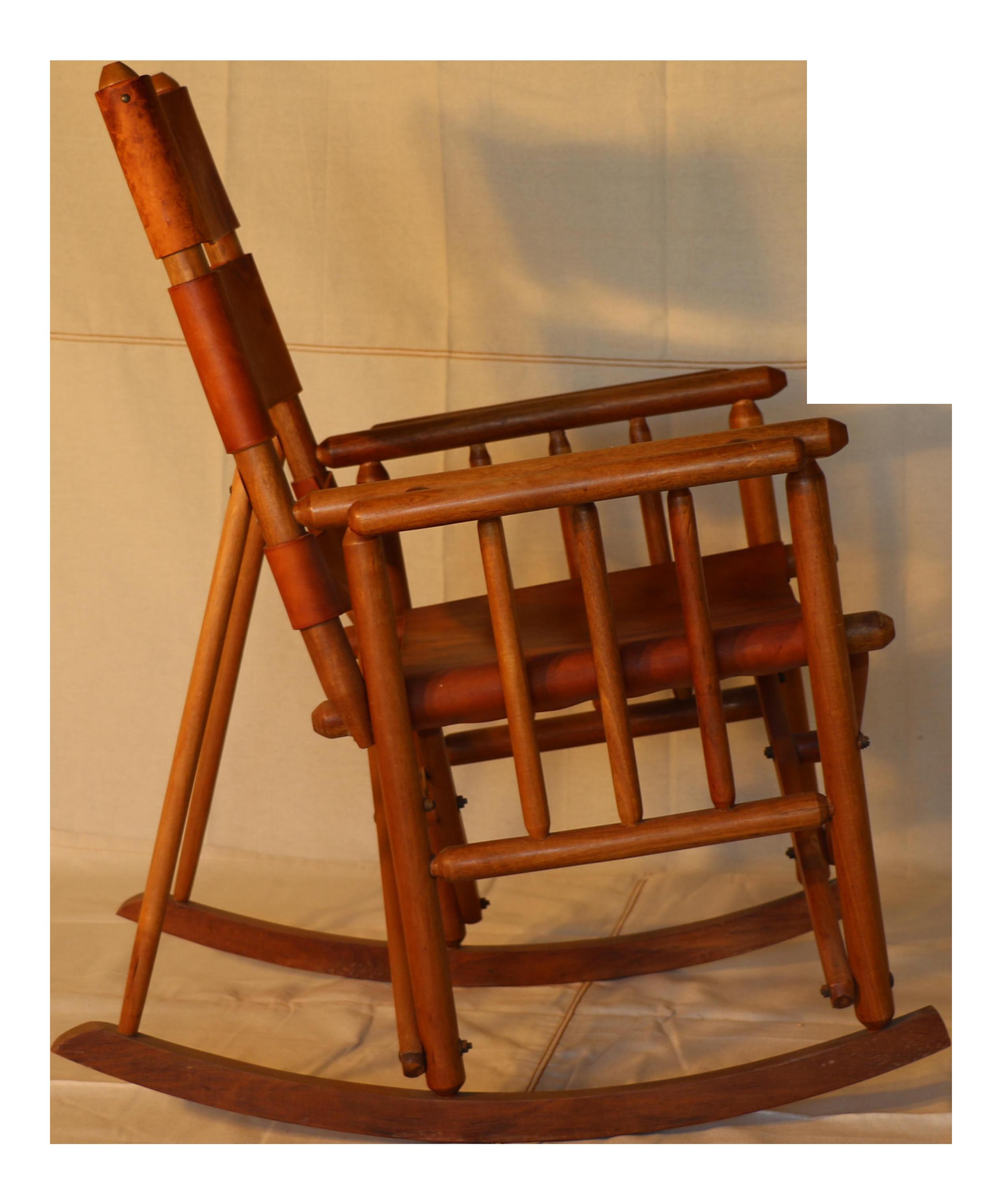 Mid Century Modern Leather Rocking Chair
