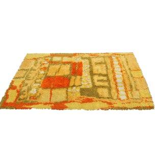 Handmade Rya Wool Rug - 4′ × 5′9″