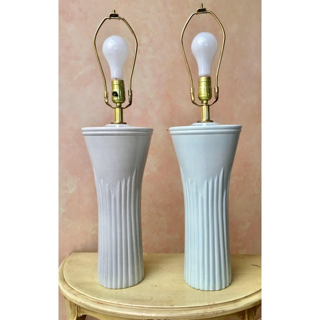 Sea Foam Table Lamps - a Pair - Image 2 of 4