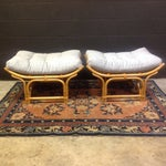 Image of Vintage Rattan Ottomans - a Pair