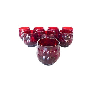Mid-Century Ruby Red Glasses - Set of 8