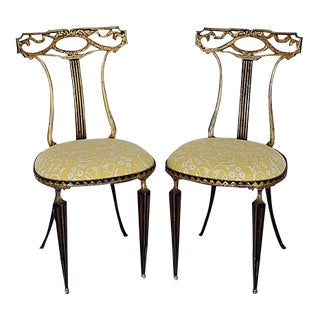 Vintage Italian Palladio & Mariano Fortuny Fabric Chairs - A Pair