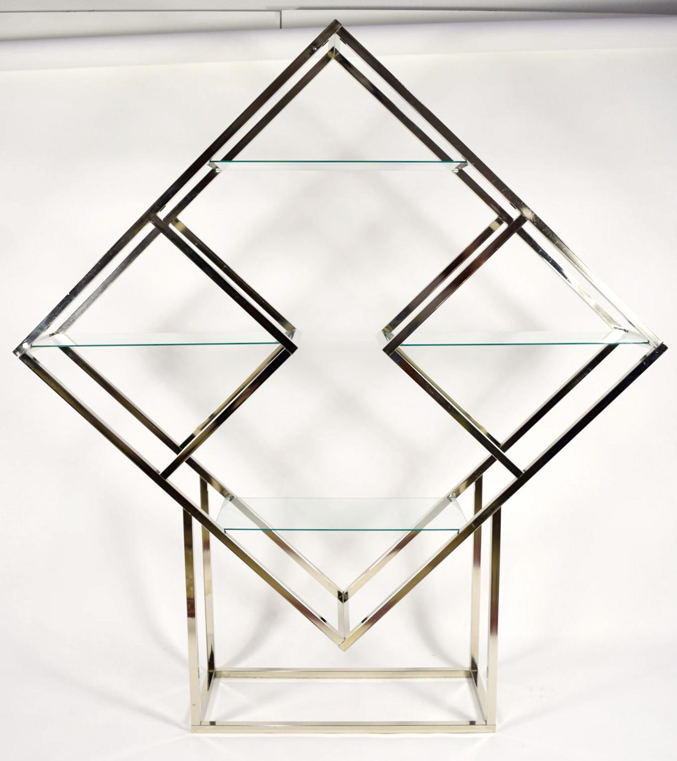 1970u0027s Diamond Shaped Etagere In Silver Finish   Image 3 ...