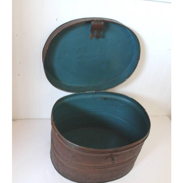19th Century Original Brown Painted and Distressed Hat Box - Image 6 of 8