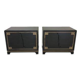Black & Gold Greek Key Design Dressers- A Pair