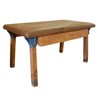 Wood and Leather Collapsible Vaulting Table