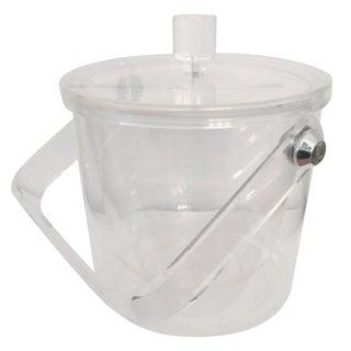 Vintage Acrylic Lucite & Chrome Ice Bucket
